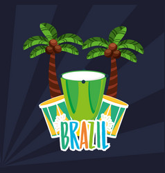 Canival rio brazilian celebration with bongos vector