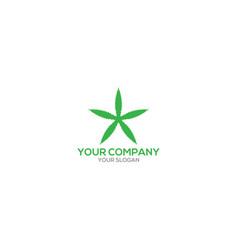 cannabis in star logo design vector image