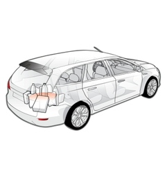 Car infographics cutaway vector image