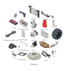 Car parts icons set isometric style vector