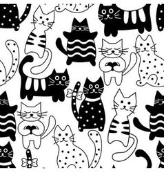 Cartoon seamless bicolor cats vector image