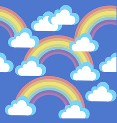 cartoon sky with clouds and rainbows vector image