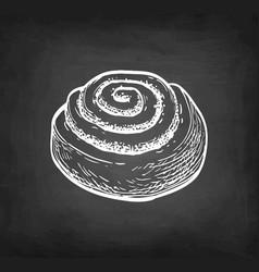 Chalk sketch cinnamon roll vector