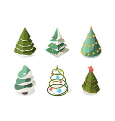 christmas tree isometric new year symbols plants vector image