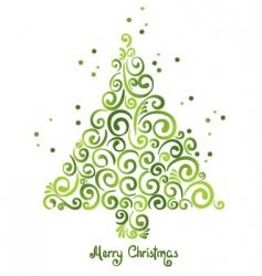 Christmas tree of curls vector