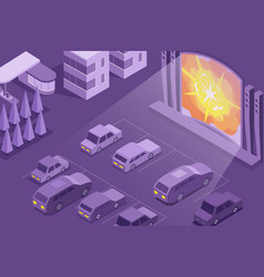 cinema open air isometric composition vector image