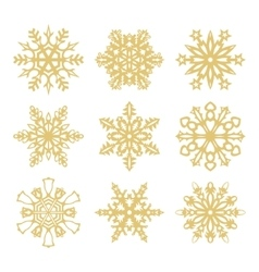 collection gold snowflakes icons vector image
