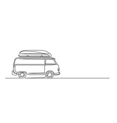 Continuous one line drawing a trip van vector