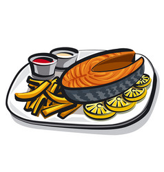 Cooked fried salmon vector