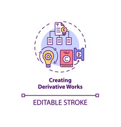 Creating derivative works concept icon vector