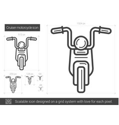 Cruiser motorcycle line icon vector