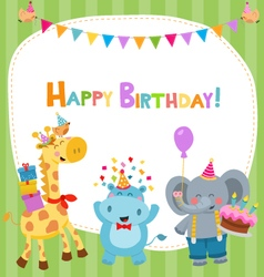 Cute birthday card with animals vector