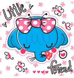 cute elephant girl with a big bow vector image