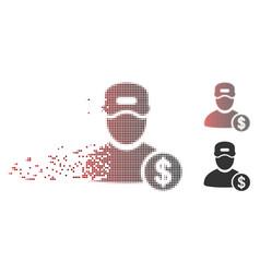 Disintegrating pixel halftone guy salary icon vector
