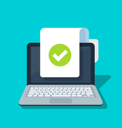 Document and checkmark icon on laptop vector