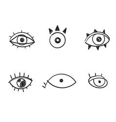 Doodle evil eyes set hand drawn various vector