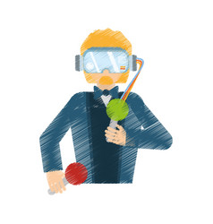 Drawing man wearing vr goggles control vector