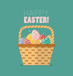 easter egg in basket vector image