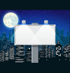 Empty urban billboard with lamp and cityscape vector