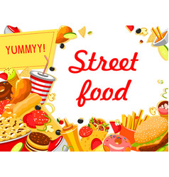 fast food banner with burger drink and dessert vector image