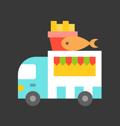 Fish and chips truck food truck flat style icon vector