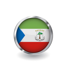 flag of equatorial guinea button with metal frame vector image