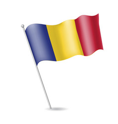Flag of romania on the flagstaff vector