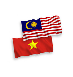 Flags vietnam and malaysia on a white vector