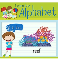 Flashcard alphabet R is for reef vector image