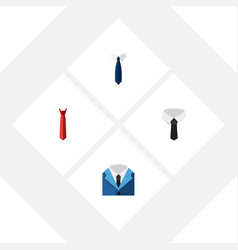 flat icon necktie set of textile style suit and vector image