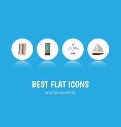 Flat icon season set of aircraft moisturizer vector