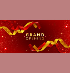 Grand opening event poster with cut ribbons vector