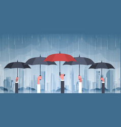 Group of hands holding umbrellas over storm in vector
