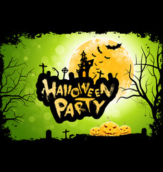 grungy halloween party poster with pumpkins vector image