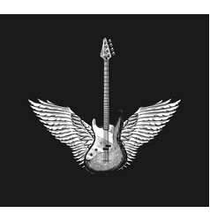 guitar with angel wings hand drawn grunge sketch vector image