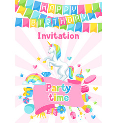 Happy birthday party invitation with unicorn and vector