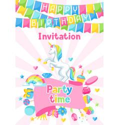 Happy birthday party invitation with unicorn and vector