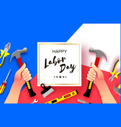 Happy labor day greetings card for national vector