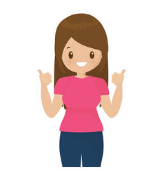happy woman shows thumbs up gesture cool vector image