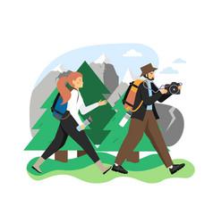 hike scene flat traveler vector image