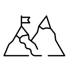hiking mountain icon outline style vector image