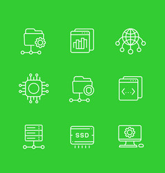 Hosting services networks ftp servers icons vector