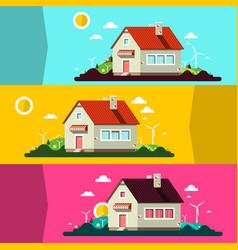 house on landscape flat design landscape scenes vector image