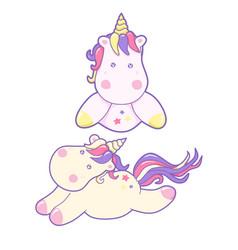 kawaii cute unicorns flies and dreams pastel color vector image