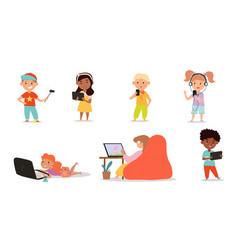 Kids using gadgets vector