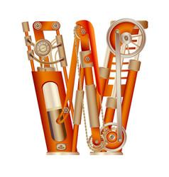 Letter w of mechanic alphabet vector