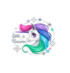Little cute beautiful unicorn face decorative vector