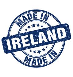Made in ireland blue grunge round stamp vector
