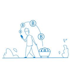 man using bitcoin mobile application mining coin vector image
