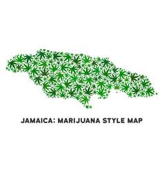 Marijuana mosaic jamaica map vector